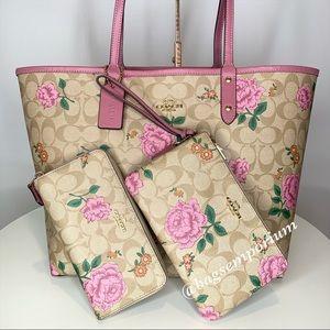 Coach Signature Rose Tote Bag Wallet 3PC Bundle